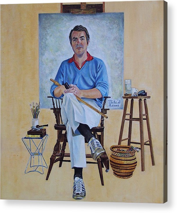 Portraiture Acrylic Print featuring the painting A Rockwell Tribute by Michael Lewis