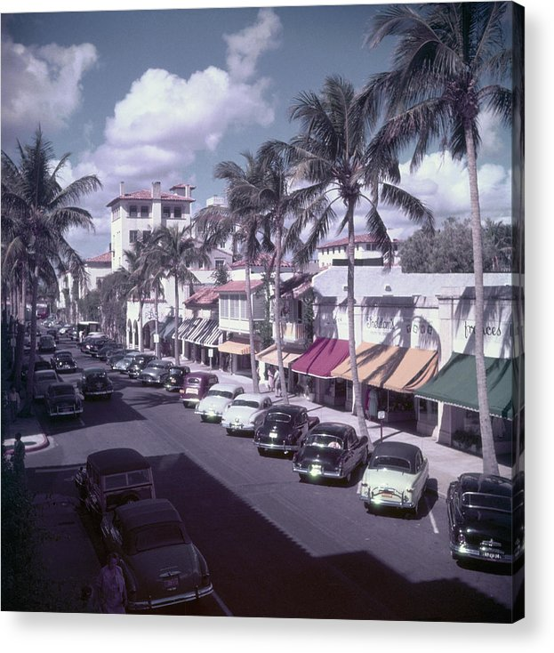 1950-1959 Acrylic Print featuring the photograph Palm Beach Street by Slim Aarons