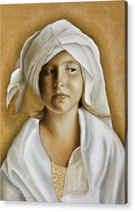 Portrait Acrylic Print featuring the painting Angelinn by Nanne Nyander