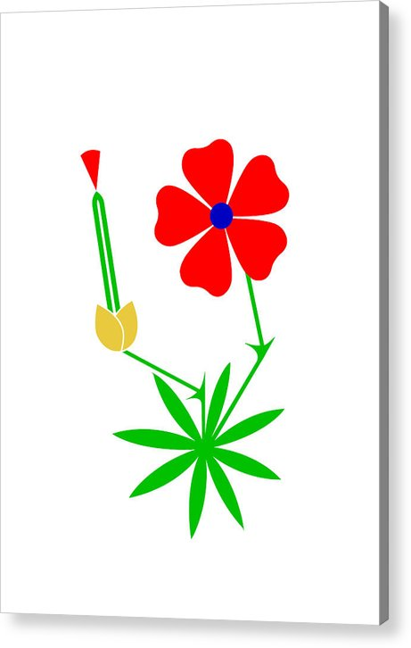 Cranesbill Acrylic Print featuring the digital art Cranesbill by Asbjorn Lonvig