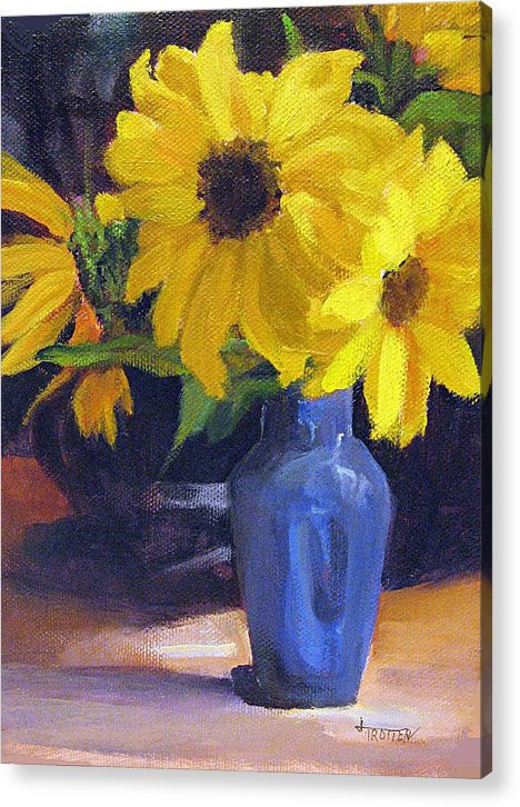 Flowers Acrylic Print featuring the painting Sunflowers with Blue Vase by Jimmie Trotter