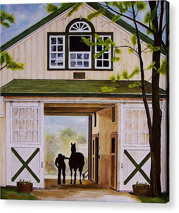 Landscape Acrylic Print featuring the painting Horse Barn by Michael Lewis