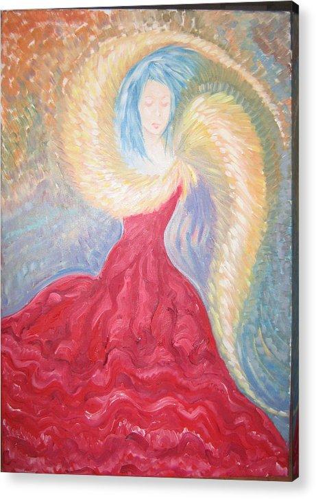 Angel Acrylic Print featuring the painting Angel Of Fire by Helene Champaloux-Saraswati