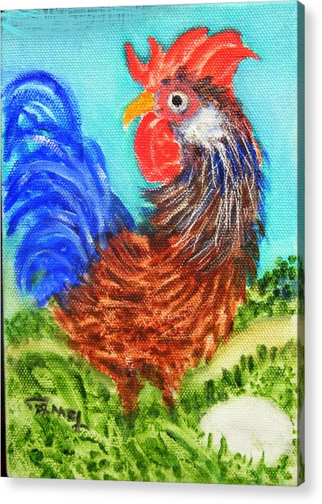 Hen Acrylic Print featuring the painting Hen With Egg by Fernando Armel