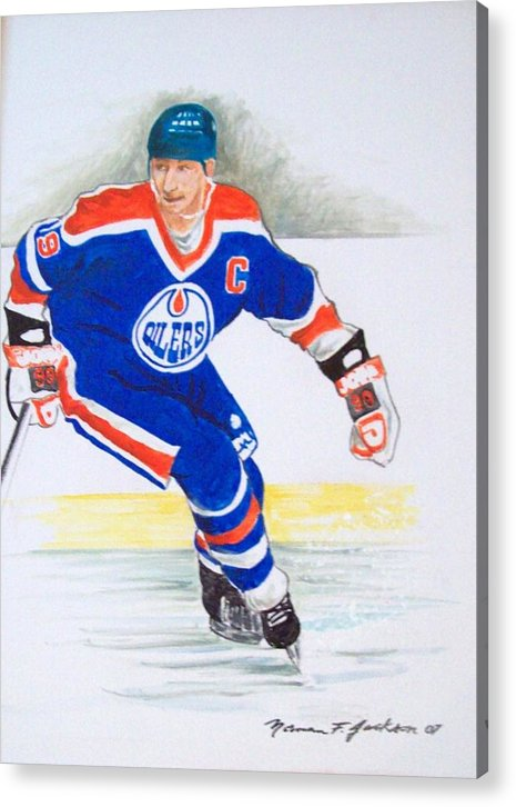 Hockey Acrylic Print featuring the painting The Great One by Norman F Jackson