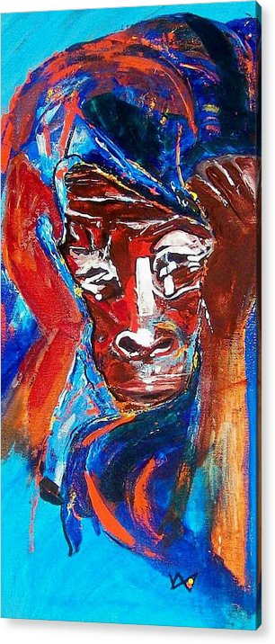 Darfur Acrylic Print featuring the painting Darfur - She Cries by Valerie Wolf