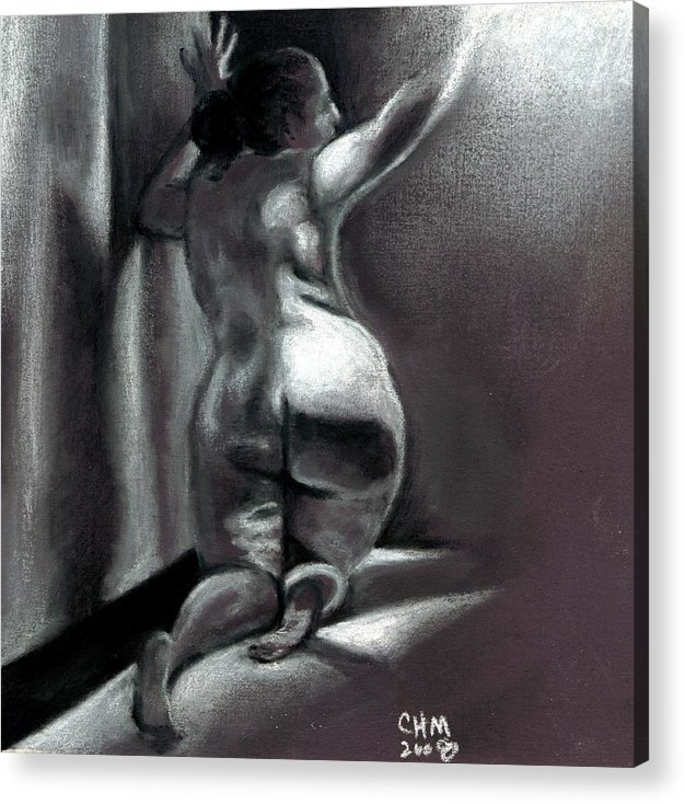 Erotica Drawing Nude Female Figure Acrylic Print featuring the drawing Reach by Cartoon Hempman
