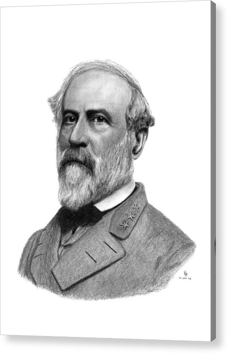 Confederate Acrylic Print featuring the drawing Confederate General Robert E Lee by Charles Vogan