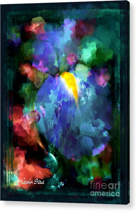 Abstract Foral Abstracts Blue Iris Wall Art Acrylic Print featuring the painting Dancing Iris by Carolyn Staut