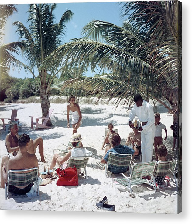 Afro-caribbean Ethnicity Acrylic Print featuring the photograph Drinks On The Beach by Slim Aarons