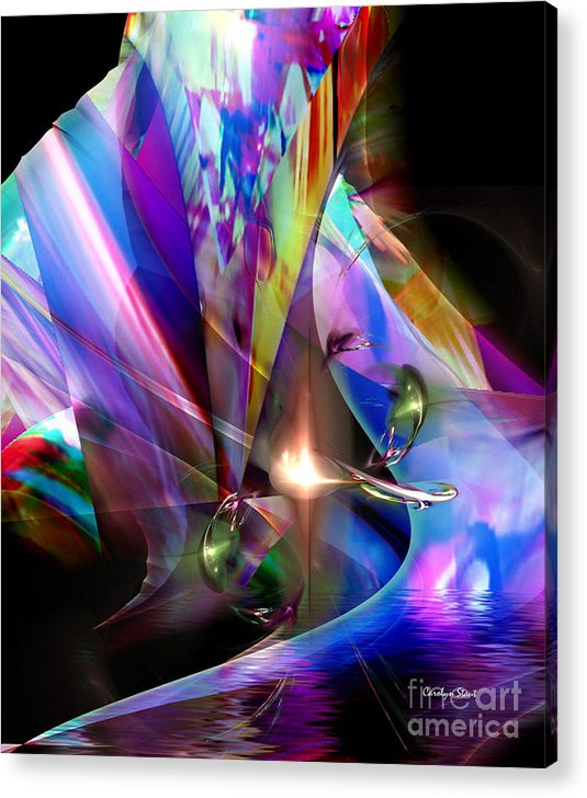 Abstract Bright Colors Digial Abstract Acrylic Print featuring the digital art The Lamp Light by Carolyn Staut