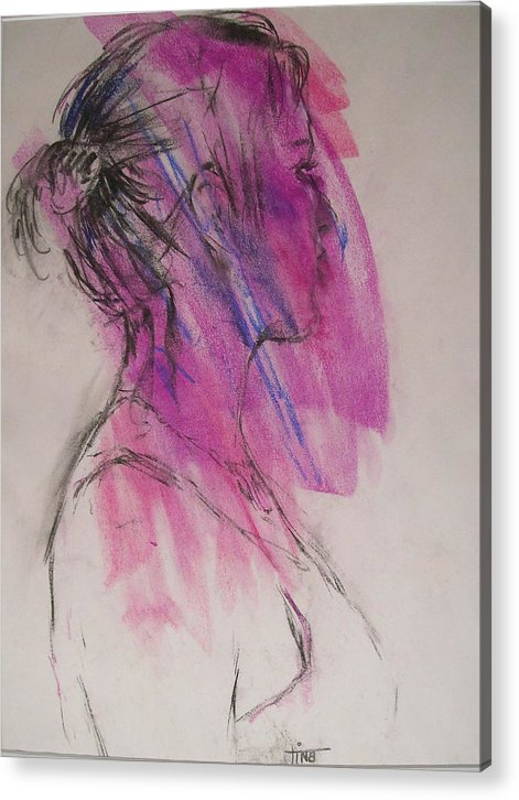Portrait Acrylic Print featuring the painting Magenta by Tina Siddiqui