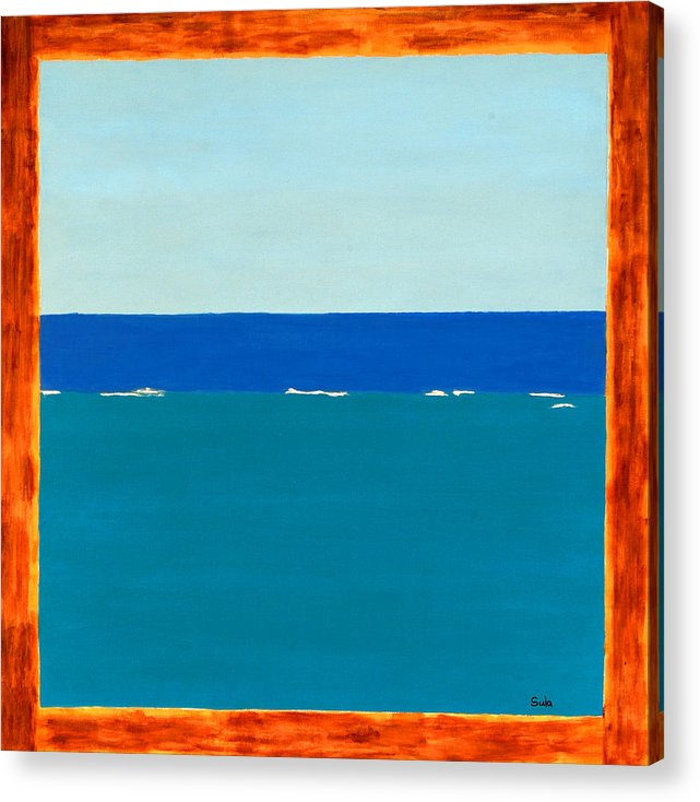 Caribbean Acrylic Print featuring the painting Sea View by Sula Chance