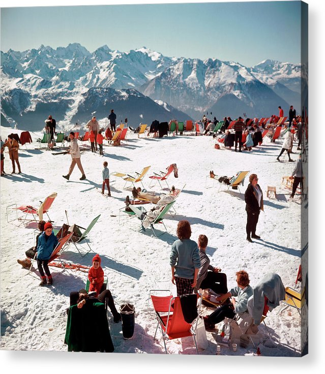 People Acrylic Print featuring the photograph Verbier Vacation by Slim Aarons