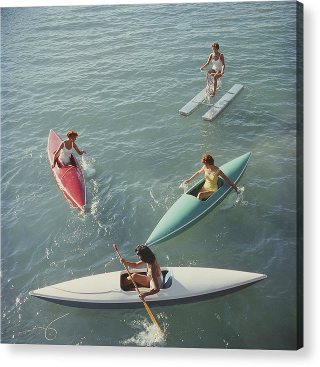 Pedal Boat Acrylic Print featuring the photograph Lake Tahoe Trip by Slim Aarons