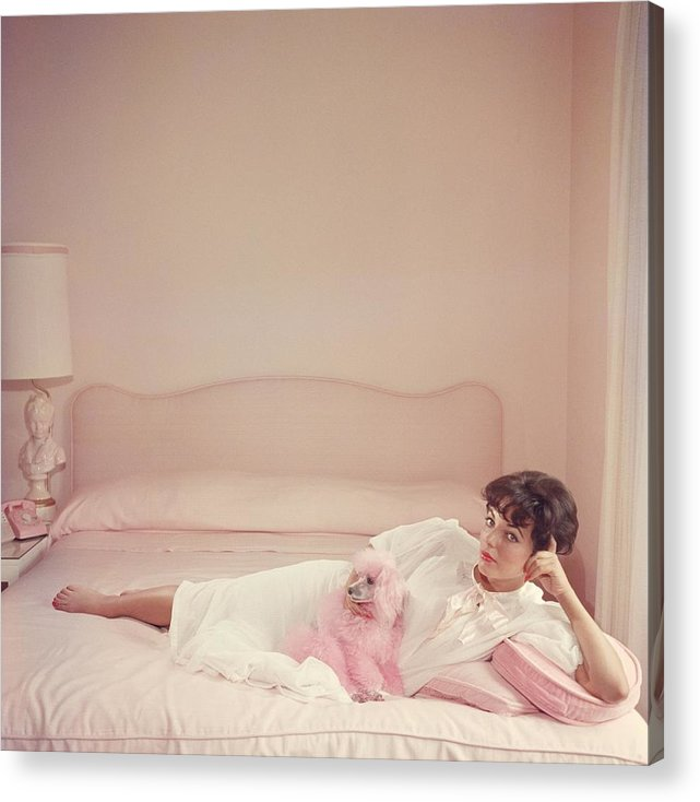 People Acrylic Print featuring the photograph Joan Collins Relaxes by Slim Aarons