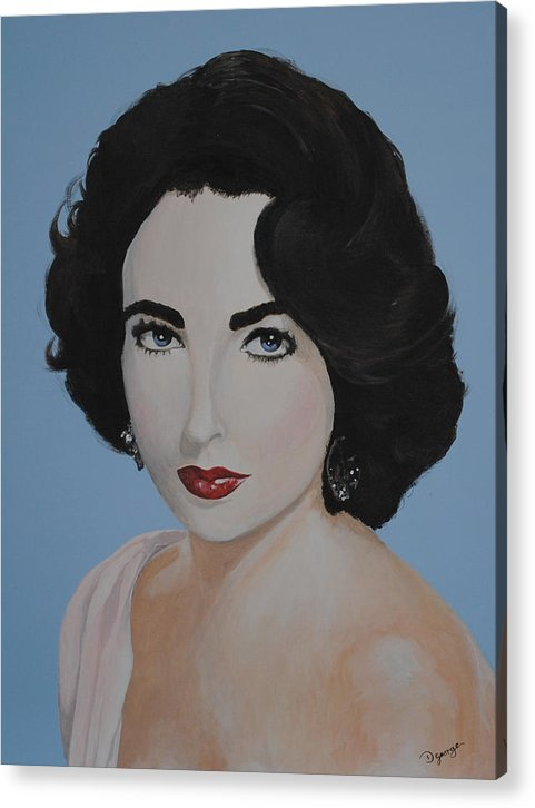 Portrait Acrylic Print featuring the painting Elizabeth Taylor by Desmond George