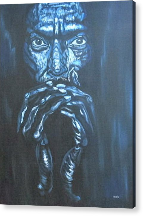 Portrait Acrylic Print featuring the painting Miles by Shahid Muqaddim