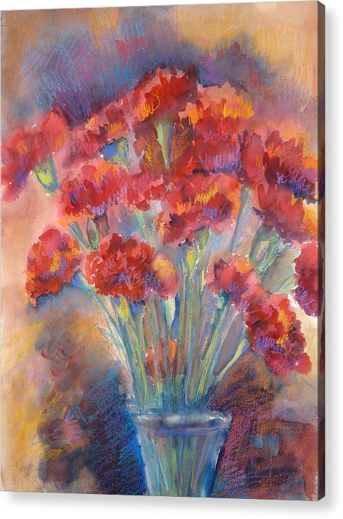 Flowers Acrylic Print featuring the painting Carnations by Joyce Kanyuk