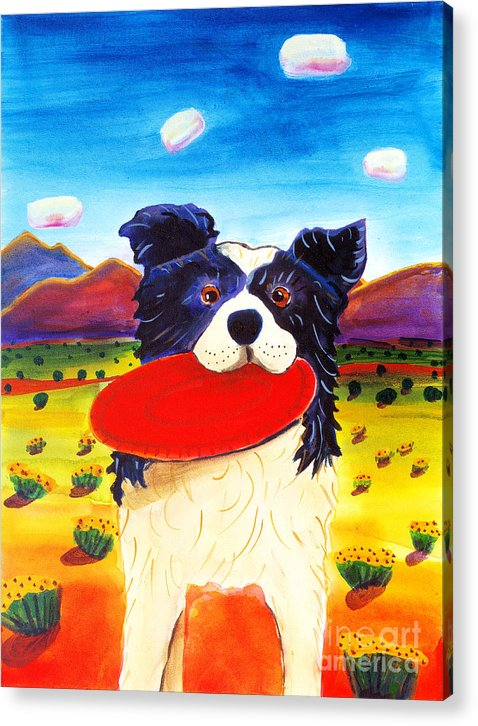 Dog Acrylic Print featuring the painting Frisbee Dog by Harriet Peck Taylor