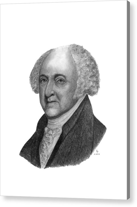 President Acrylic Print featuring the drawing President John Adams by Charles Vogan
