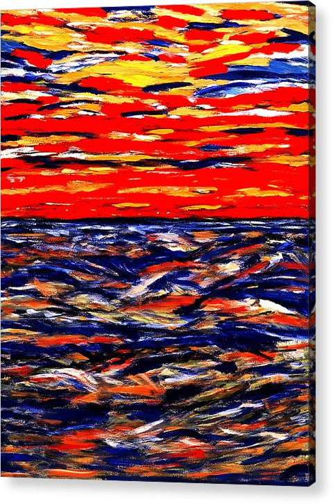 Caribbean Acrylic Print featuring the painting Red Sunset by Sula Chance