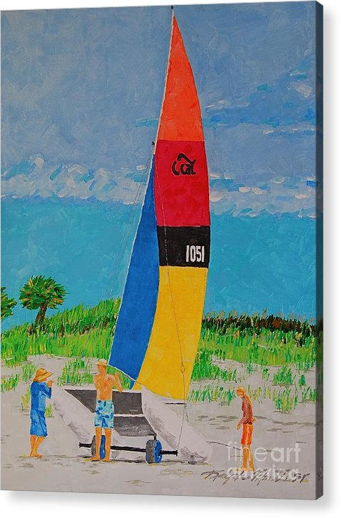 Beach Art Acrylic Print featuring the painting Sail Preparation by Art Mantia