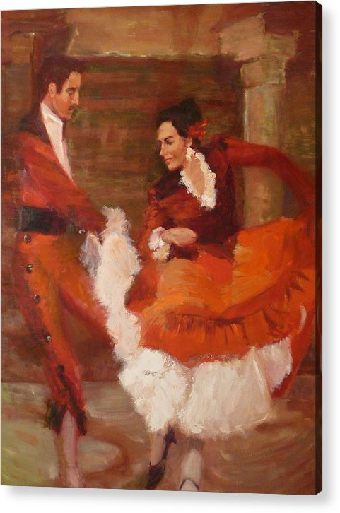 Spanish Acrylic Print featuring the painting Spanish Dancers by Irena Jablonski