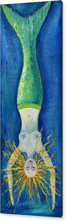 Mermaid Acrylic Print featuring the painting Mermaid Diving by Amie Kroll