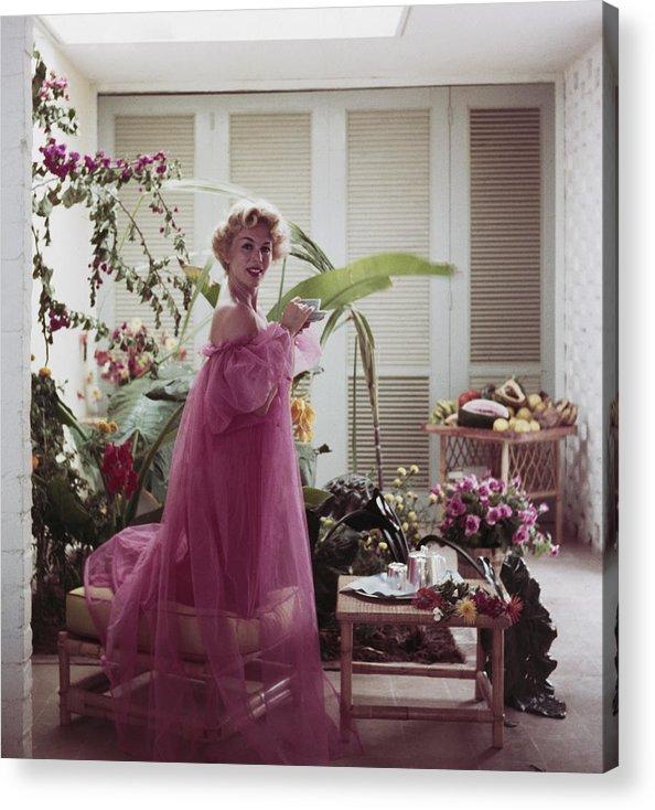 Nightie Acrylic Print featuring the photograph Eva Gabor by Slim Aarons