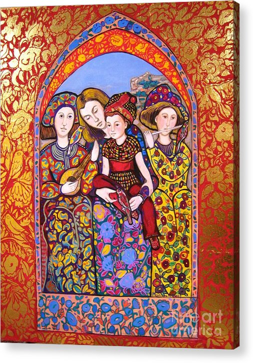Medieval Acrylic Print featuring the painting Liz and Madeline with music by Marilene Sawaf
