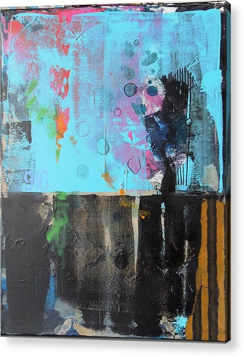 Abstract Mixed Media Collage On Canvas Acrylic Print featuring the mixed media Nine One Six by Jo Ann Brown-Scott