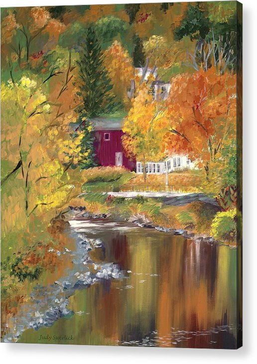 Landscape Acrylic Print featuring the painting Autumn in New York by Judy Swerlick