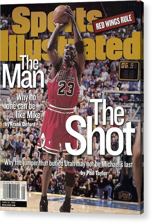 Magazine Cover Acrylic Print featuring the photograph Chicago Bulls Michael Jordan, 1998 Nba Finals Sports Illustrated Cover by Sports Illustrated