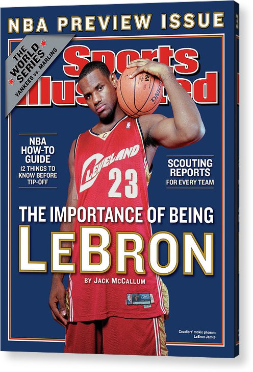 Magazine Cover Acrylic Print featuring the photograph Cleveland Cavaliers LeBron James, 2003-04 Nba Basketball Sports Illustrated Cover by Sports Illustrated