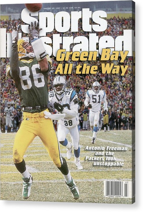 Magazine Cover Acrylic Print featuring the photograph Green Bay Packers Antonio Freeman, 1997 Nfc Championship Sports Illustrated Cover by Sports Illustrated
