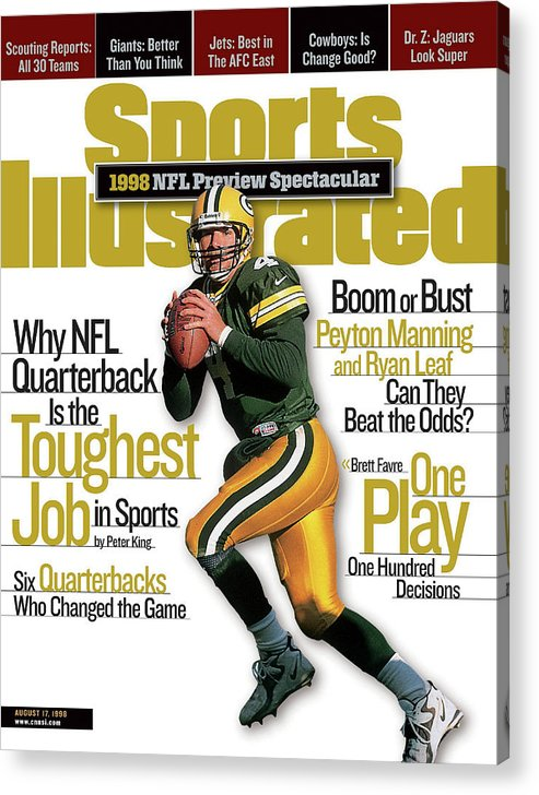 Green Bay Acrylic Print featuring the photograph Green Bay Packers Qb Brett Favre, 1998 Nfl Football Preview Sports Illustrated Cover by Sports Illustrated