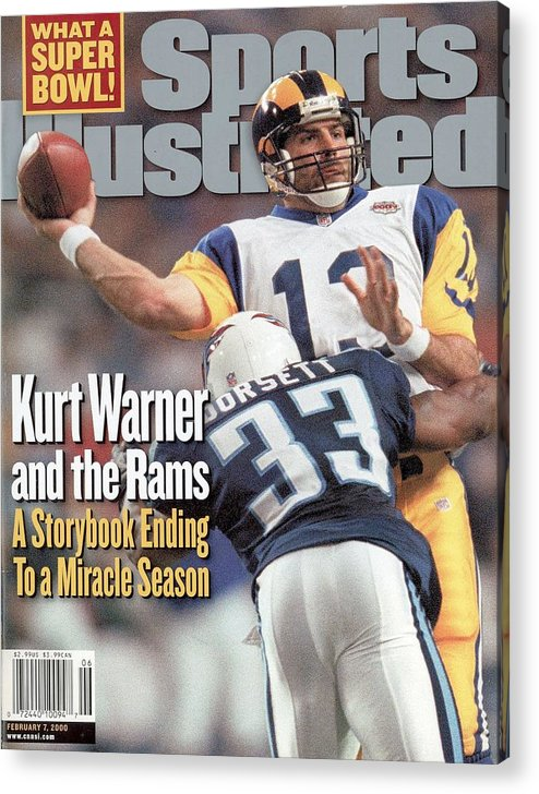 Atlanta Acrylic Print featuring the photograph St. Louis Rams Qb Kurt Warner, Super Bowl Xxxiv Sports Illustrated Cover by Sports Illustrated