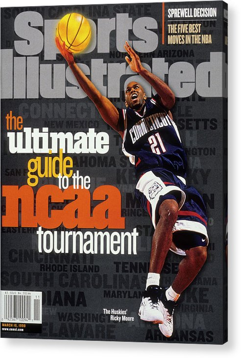 Sports Illustrated Acrylic Print featuring the photograph University Of Connecticut Ricky Moore, 1997 Ncaa Tournament Sports Illustrated Cover by Sports Illustrated