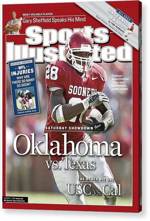 Magazine Cover Acrylic Print featuring the photograph University Of Oklahoma Adrian Peterson Sports Illustrated Cover by Sports Illustrated