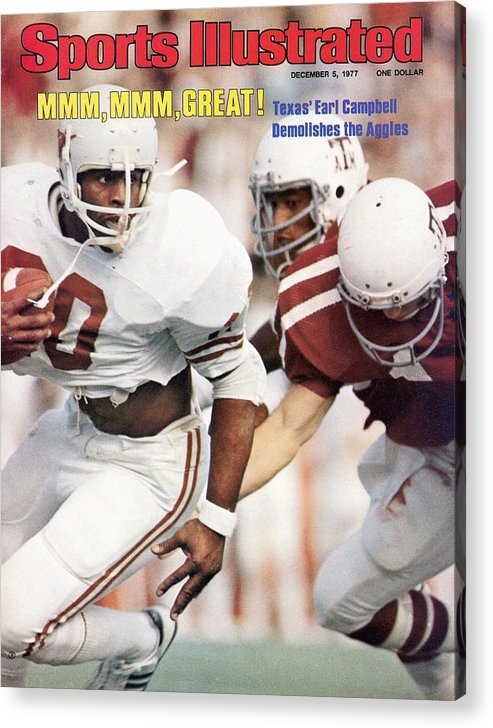 Magazine Cover Acrylic Print featuring the photograph University Of Texas Earl Campbell Sports Illustrated Cover by Sports Illustrated