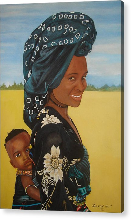 African Mother And Child Acrylic Print featuring the painting Mother And Child by Patrick Hunt