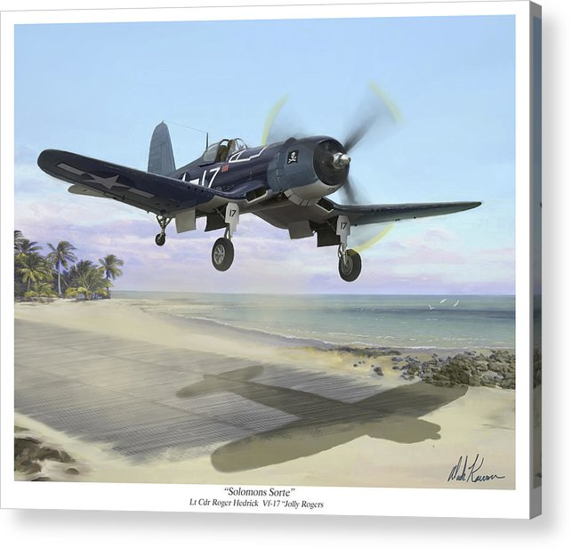 Airplane Acrylic Print featuring the painting Corsair Takeoff Vf-17 Jolly Rogers by Mark Karvon