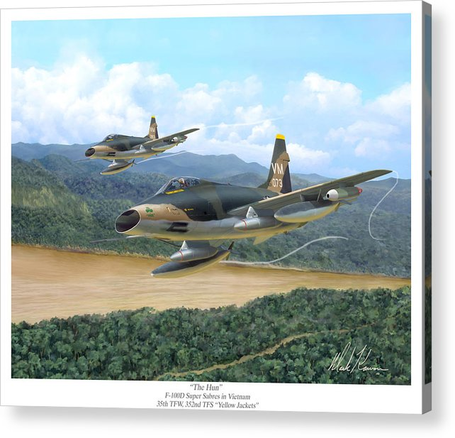 Aviation Acrylic Print featuring the painting The Hun - F-100 Super Sabres In Vietnam by Mark Karvon