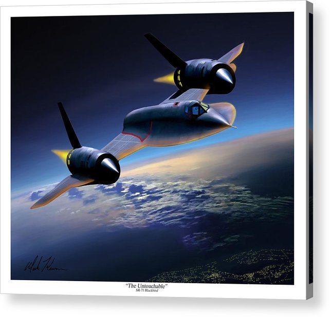 Airplane Acrylic Print featuring the painting The Untouchable Sr-71 Blackbird by Mark Karvon