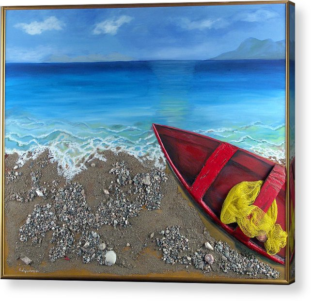 Seascape Acrylic Print featuring the painting Serenity by Helene Lagoudakis
