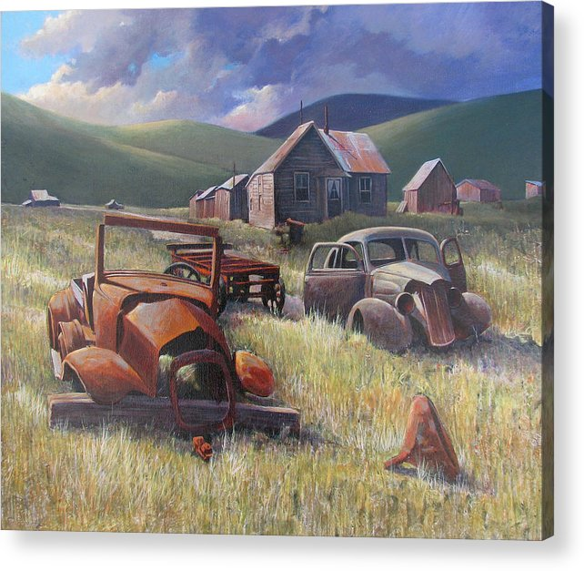 Old Cars Mixed Media Acrylic Print featuring the painting Eternal Race by Don Trout