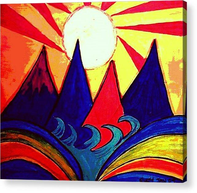 Japan Acrylic Print featuring the painting Japanese Sunrise by Rusty Gladdish