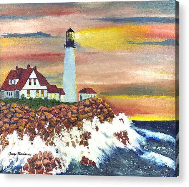 Lighthouse In The Begging Of A Storm Acrylic Print featuring the print Guiding Light by George Markiewicz