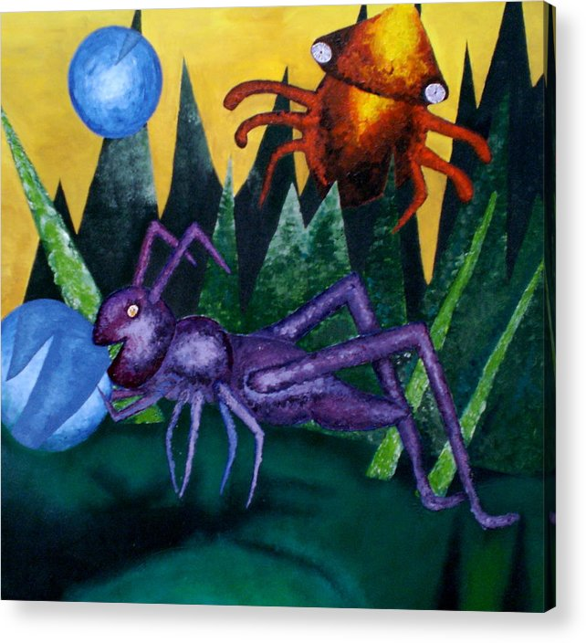 Bugs Acrylic Print featuring the painting Trippy Virgin by Kime Einhorn